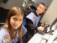 Two students at Challenger Learning Center