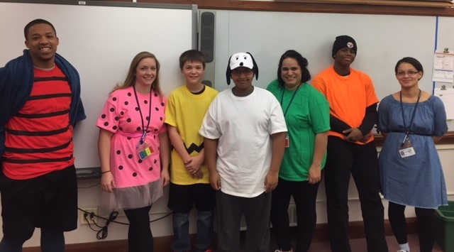 Mrs. Shaut's crew dressed as Peanuts characters