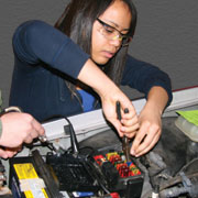 Auto Services Student working on a car