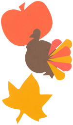 Pumpkin, turkey and leaf die shapes.