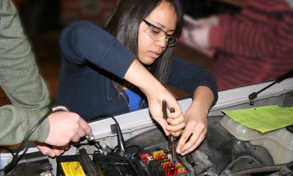 EMCC Auto Services student works on a vehicle