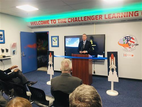 District Superintendent Dan White speaking at the Challenger opening ceremony