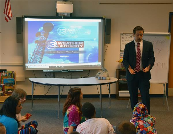 Meteorologist Marty Snyder Presents Weather Facts to Creekside Class