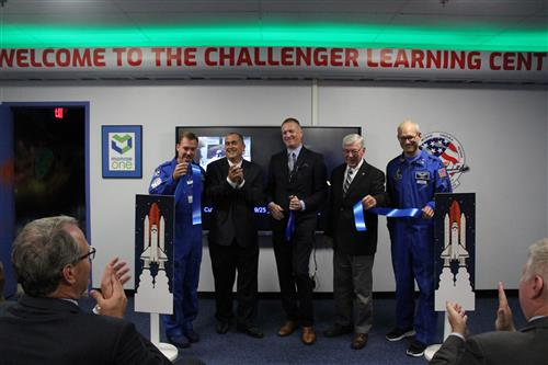 Ribbon cutting at the Challenger ceremony