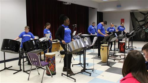 Creekside steel drum band performing at the Foreman Center cafeteria