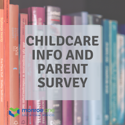 books with text saying childcare info and parent survey