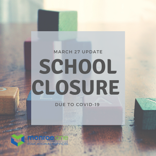 classroom with text stating school closure update